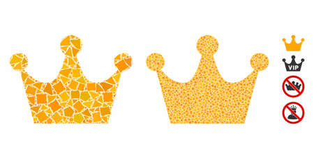 Gold crown mosaic of inequal items in variable sizes and shades, based on gold crown icon. Vector rugged items are organized into mosaic. Gold crown icons collage with dotted pattern.