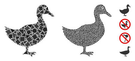 Duck composition of joggly pieces in various sizes and shades, based on duck icon. Vector joggly dots are united into collage. Duck icons collage with dotted pattern.