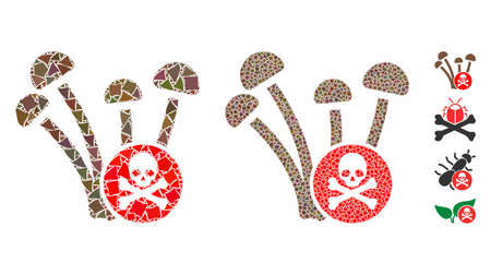 Fungicide composition of tuberous parts in variable sizes and shades, based on fungicide icon. Vector ragged parts are organized into mosaic. Fungicide icons collage with dotted pattern. Illustration