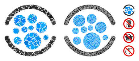 Full mosaic of raggy pieces in different sizes and color tones, based on full icon. Vector raggy dots are composed into mosaic. Full icons collage with dotted pattern.