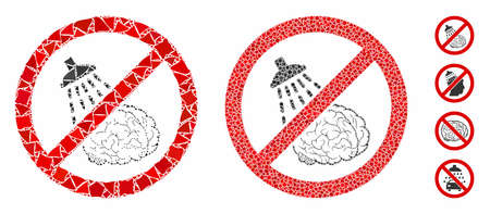 No brain washing composition of abrupt items in various sizes and color tinges, based on no brain washing icon. Vector rough items are grouped into composition.
