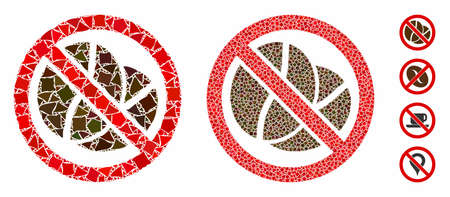 No caffeine composition of tremulant elements in variable sizes and color hues, based on no caffeine icon. Vector rough elements are grouped into collage.
