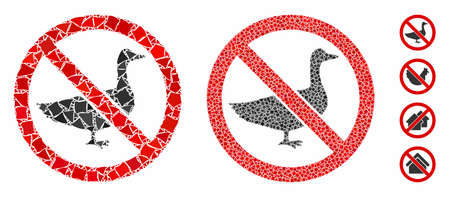 No goose mosaic of uneven items in various sizes and color hues, based on no goose icon. Vector tremulant pieces are composed into collage. No goose icons collage with dotted pattern. 向量圖像