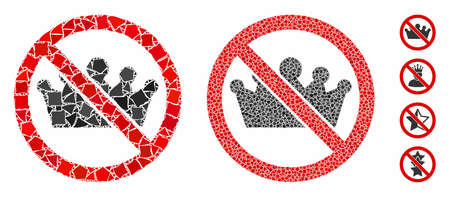 No monarchy mosaic of raggy elements in different sizes and shades, based on no monarchy icon. Vector inequal elements are grouped into mosaic. No monarchy icons collage with dotted pattern.