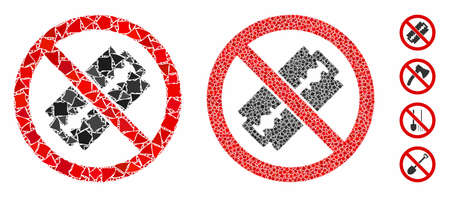 No razor blade composition of ragged items in variable sizes and color tints, based on no razor blade icon. Vector ragged pieces are grouped into collage.