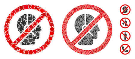 No telemarketing operator composition of inequal items in various sizes and color tinges, based on no telemarketing operator icon. Vector bumpy items are grouped into composition. Illustration
