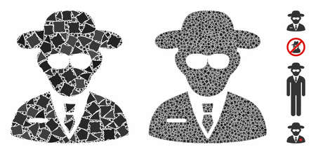 Secure agent mosaic of raggy pieces in different sizes and shades, based on secure agent icon. Vector raggy pieces are combined into composition. Secure agent icons collage with dotted pattern.