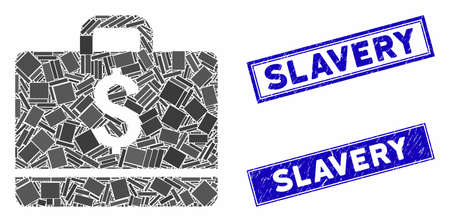 Mosaic accounting icon and rectangular Slavery seal stamps. Flat vector accounting mosaic icon of randomized rotated rectangular items. Blue Slavery stamps with scratched texture.