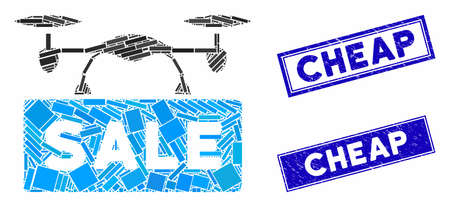 Mosaic airdrone sale pictogram and rectangle Cheap seal stamps. Flat vector airdrone sale mosaic pictogram of randomized rotated rectangle items. Blue Cheap stamps with dirty textures.