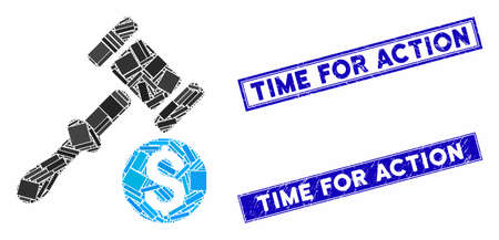 Mosaic auction icon and rectangular Time for Action rubber prints. Flat vector auction mosaic icon of randomized rotated rectangular elements. Blue Time for Action rubber seals with distress textures.