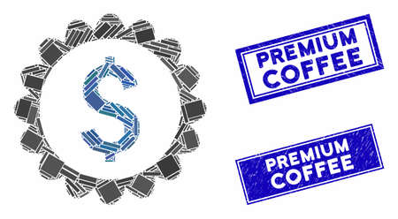 Mosaic banking stamp icon and rectangular Premium Coffee seal stamps. Flat vector banking stamp mosaic icon of randomized rotated rectangle items.