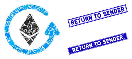 Mosaic Ethereum refund pictogram and rectangular Return to Sender seals. Flat vector Ethereum refund mosaic pictogram of random rotated rectangular items.