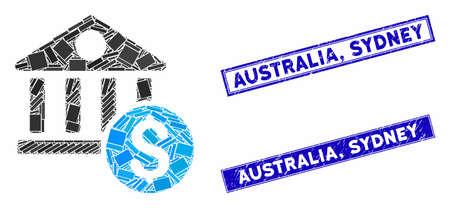 Mosaic dollar bank icon and rectangle Australia, Sydney rubber prints. Flat vector dollar bank mosaic icon of random rotated rectangle elements. Blue Australia,