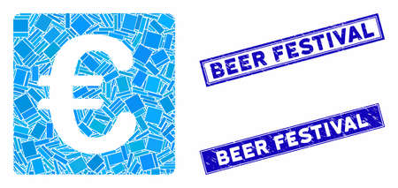 Mosaic Euro financial pictogram and rectangle Beer Festival seal stamps. Flat vector Euro financial mosaic pictogram of random rotated rectangle elements.