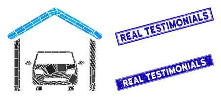 Mosaic garage car icon and rectangular Real Testimonials seal stamps. Flat vector garage car mosaic icon of randomized rotated rectangular items. Blue Real Testimonials stamps with scratched texture.