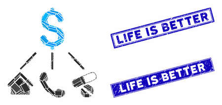 Mosaic life expenses pictogram and rectangle Life Is Better seal stamps. Flat vector life expenses mosaic pictogram of scattered rotated rectangle items.
