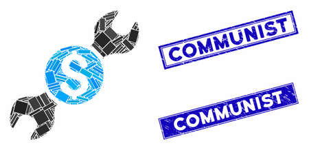 Mosaic repair cost icon and rectangle Communist stamps. Flat vector repair cost mosaic icon of randomized rotated rectangle elements. Blue Communist seal stamps with rubber surface.
