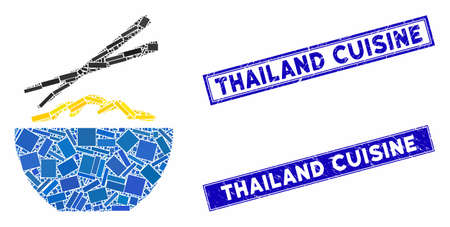 Mosaic rice porridge icon and rectangle Thailand Cuisine seals. Flat vector rice porridge mosaic icon of random rotated rectangular elements. Blue Thailand Cuisine seals with scratched surface. Illustration