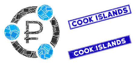 Mosaic rouble collaboration icon and rectangular Cook Islands watermarks. Flat vector rouble collaboration mosaic icon of random rotated rectangular items. Illusztráció