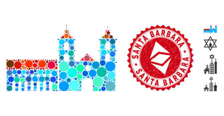 Mosaic Santa Barbara mission and circle seal stamp. Flat vector Santa Barbara mission mosaic of randomized spheric items. Red seal stamp with distress design.