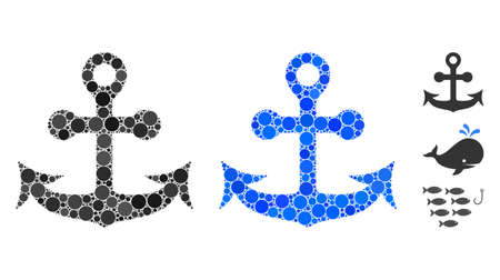 Anchor mosaic of circle elements in various sizes and color tinges, based on anchor icon. Vector round elements are composed into blue mosaic. Dotted anchor icon in usual and blue versions.  イラスト・ベクター素材