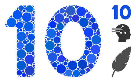 10 digits text mosaic of filled circles in different sizes and color tones, based on 10 digits text icon. Vector filled circles are united into blue mosaic.