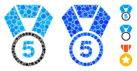 5th place medal composition of round dots in various sizes and color tinges, based on 5th place medal icon. Vector round dots are grouped into blue composition.