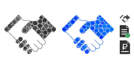Agreement composition of spheric dots in various sizes and color hues, based on agreement icon. Vector round dots are organized into blue composition. Dotted agreement icon in usual and blue versions.