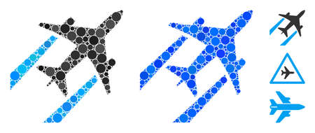 Air jet trace mosaic of spheric dots in various sizes and color tinges, based on air jet trace icon. Vector circle elements are organized into blue mosaic.