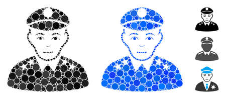 Army general composition of spheric dots in variable sizes and color tones, based on army general icon. Vector round dots are combined into blue composition.