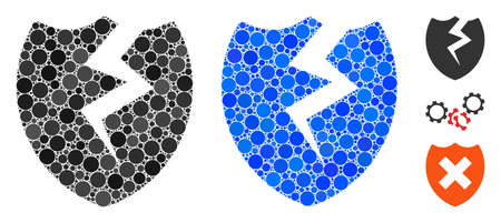 Broken shield mosaic of spheric dots in various sizes and color hues, based on broken shield icon. Vector dots are united into blue mosaic. Dotted broken shield icon in usual and blue versions.