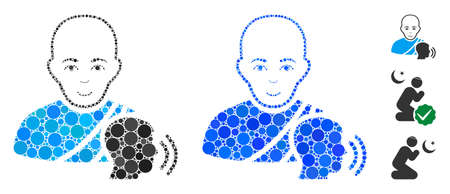 Buddhist confession mosaic of round dots in various sizes and shades, based on buddhist confession icon. Vector round dots are organized into blue collage.