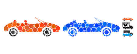 Cabriolet mosaic of small circles in different sizes and color tones, based on cabriolet icon. Vector small circles are organized into blue collage. Dotted cabriolet icon in usual and blue versions. Vettoriali