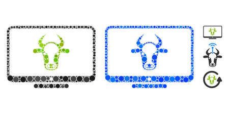 Cattle monitor mosaic of spheric dots in various sizes and shades, based on cattle monitor icon. Vector round dots are combined into blue mosaic. Dotted cattle monitor icon in usual and blue versions.