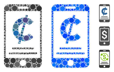 Cent mobile payment composition of filled circles in variable sizes and color hues, based on cent mobile payment icon. Vector small circles are combined into blue composition.