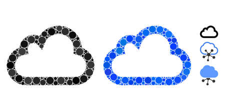 Cloud mosaic of circle elements in variable sizes and shades, based on cloud icon. Vector circle elements are combined into blue illustration. Dotted cloud icon in usual and blue versions.