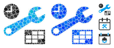 Date and time setup mosaic of small circles in various sizes and color tinges, based on date and time setup icon. Vector small circles are united into blue collage.