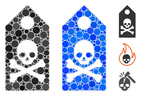 Death mark composition of small circles in different sizes and color tones, based on death mark icon. Vector filled circles are combined into blue composition.