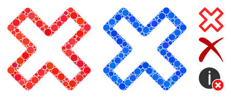 Delete x-cross composition of circle elements in variable sizes and color tones, based on delete x-cross icon. Vector circle elements are organized into blue illustration.