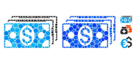 Dollar banknotes composition of circle elements in different sizes and shades, based on dollar banknotes icon. Vector round elements are combined into blue composition.