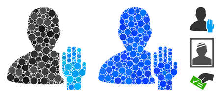 Elector mosaic of round dots in various sizes and color tinges, based on elector icon. Vector round dots are combined into blue mosaic. Dotted elector icon in usual and blue versions.