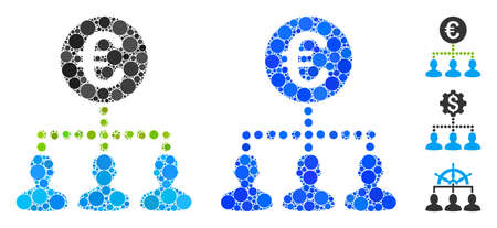 Euro bank staff mosaic of filled circles in different sizes and color tinges, based on euro bank staff icon. Vector random circles are grouped into blue composition. Illusztráció