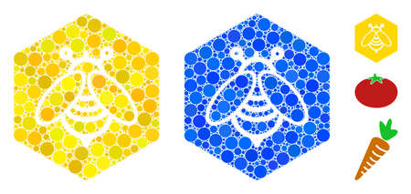 Honey composition of circle elements in variable sizes and color tints, based on honey icon. Vector circle elements are grouped into blue composition. Dotted honey icon in usual and blue versions.
