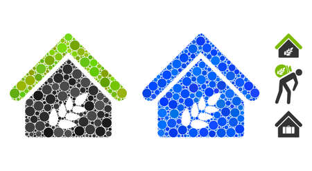 Grain warehouse composition of round dots in various sizes and color tinges, based on grain warehouse icon. Vector round dots are united into blue mosaic.