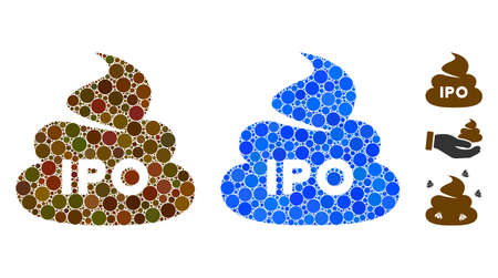 IPO shit mosaic of circle elements in variable sizes and color tones, based on IPO shit icon. Vector small circles are united into blue mosaic. Dotted IPO shit icon in usual and blue versions.