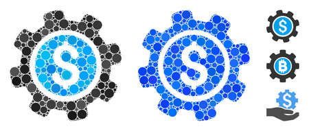 Payment options mosaic of small circles in various sizes and color tinges, based on payment options icon. Vector small circles are composed into blue collage.