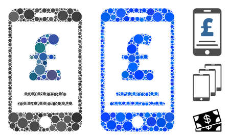 Pound mobile payment mosaic of circle elements in variable sizes and color tones, based on pound mobile payment icon. Vector circle elements are united into blue composition.