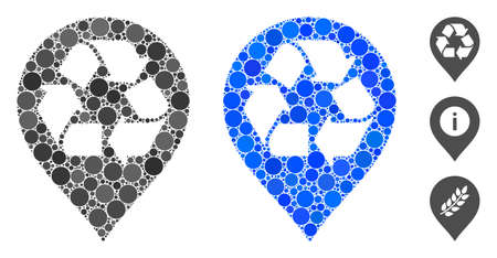 Recycle map marker composition of circle elements in various sizes and color tones, based on recycle map marker icon. Vector circle elements are united into blue illustration.