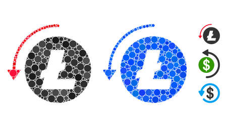 Refund Litecoin mosaic of small circles in various sizes and color tones, based on refund Litecoin icon. Vector small circles are composed into blue collage.