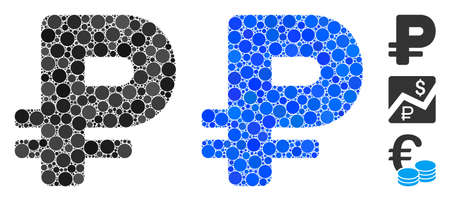 Rouble mosaic of small circles in variable sizes and shades, based on rouble icon. Vector small circles are composed into blue mosaic. Dotted rouble icon in usual and blue versions. Illusztráció